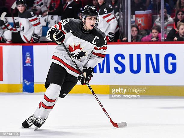 Dylan Strome of Team Canada skates during the 2017 IIHF World Junior Championship quarterfinal game against Team Czech Republic at the Bell Centre on...