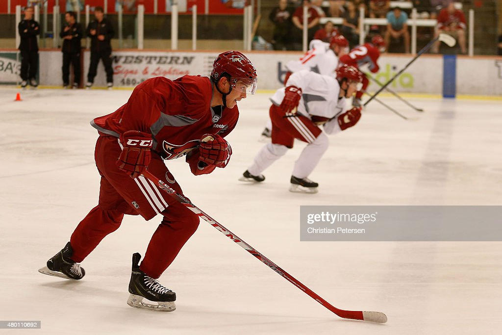 Dylan Strome #20 of the Arizona Coyotes participates in the prospect development camp at the Ice Den on July 6, 2015 in Scottsdale, Arizona.