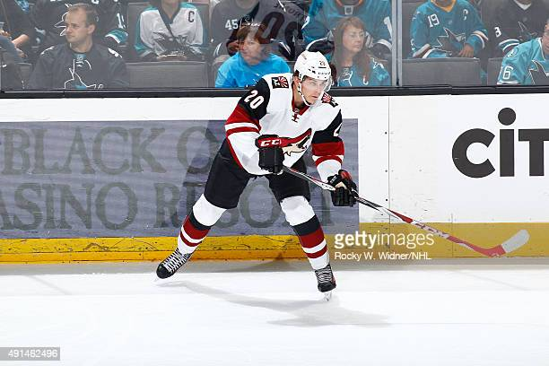 Dylan Strome of the Arizona Coyotes passes the puck against the San Jose Sharks at SAP Center on September 25 2015 in San Jose California
