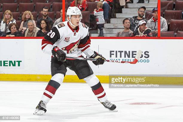 Dylan Strome of the Arizona Coyotes skates against the Ottawa Senators during his first career NHL game at Canadian Tire Centre on October 18 2016 in...