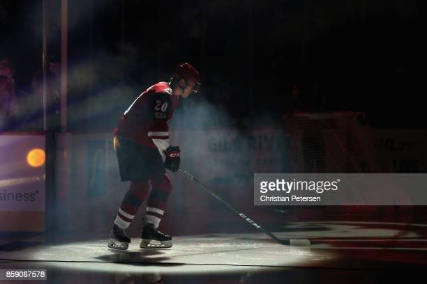Dylan Strome of the Arizona Coyotes skates onto the ice as he is introduced to the NHL game against the Vegas Golden Knights at Gila River Arena on...
