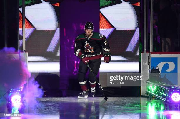 Dylan Strome of the Arizona Coyotes skates onto the ice during player introductions prior to a game against the Anaheim Ducks at Gila River Arena on...