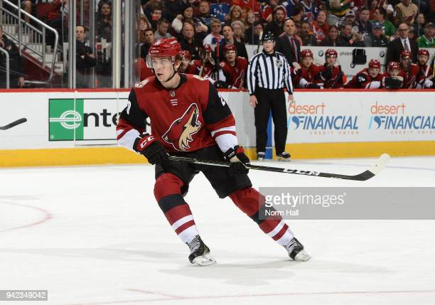 Dylan Strome of the Arizona Coyotes skates up ice against the St Louis Blues at Gila River Arena on March 31 2018 in Glendale Arizona