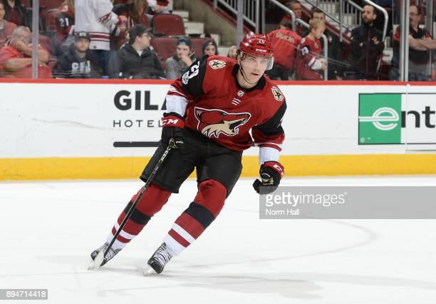 Dylan Strome of the Arizona Coyotes skates up ice against the Tampa Bay Lightning at Gila River Arena on December 14 2017 in Glendale Arizona