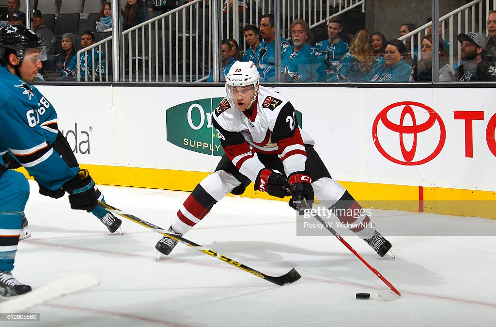 Dylan Strome #20 of the Arizona Coyotes skates with the puck against the San Jose Sharks at SAP Center on September 30, 2016 in San Jose, California.
