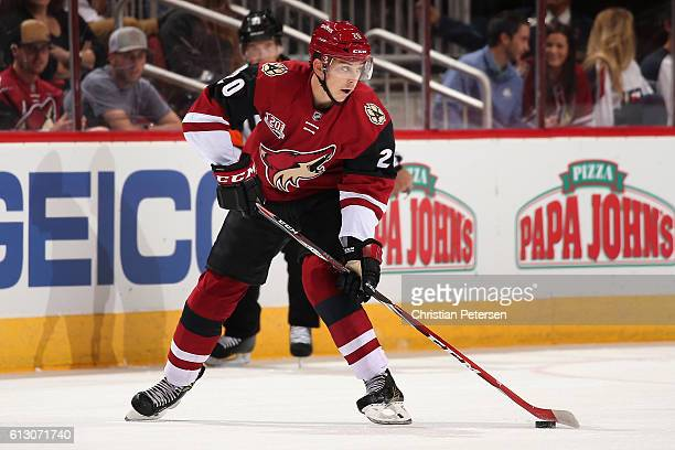 Dylan Strome of the Arizona Coyotes skates with the puck during the preseason NHL game against Anaheim Ducks at Gila River Arena on October 1 2016 in...