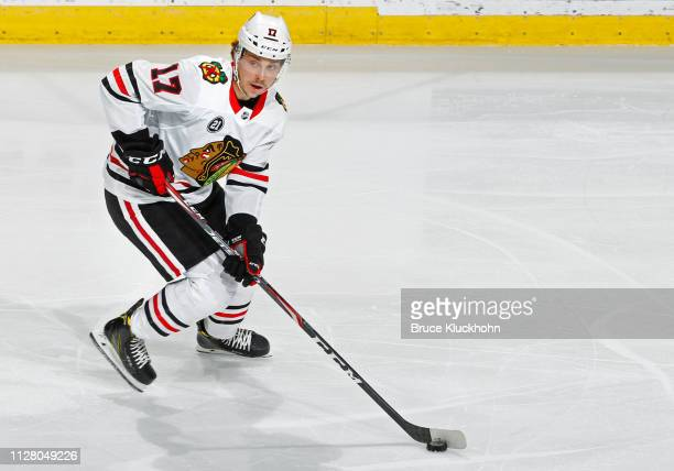 Dylan Strome of the Chicago Blackhawks looks to pass during a game with the Minnesota Wild at Xcel Energy Center on February 2 2019 in St Paul...