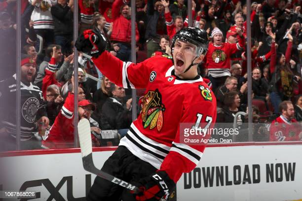 Dylan Strome of the Chicago Blackhawks reacts after scoring against the Calgary Flames in the second period at the United Center on December 2 2018...