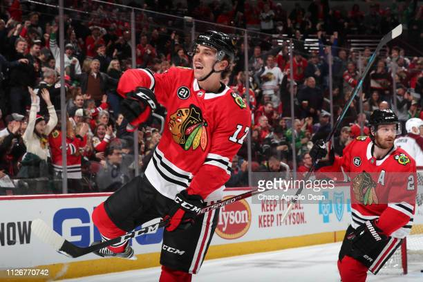 Dylan Strome of the Chicago Blackhawks reacts after scoring against the Colorado Avalanche in the second period at the United Center on February 22,...