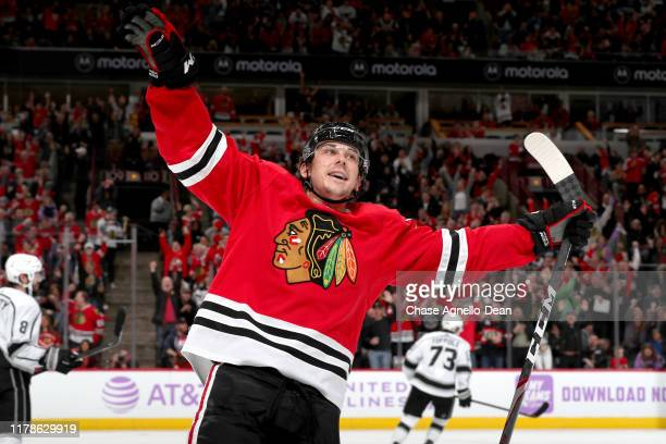 Dylan Strome of the Chicago Blackhawks reacts after scoring his second goal against the Los Angeles Kings in the second period at the United Center...