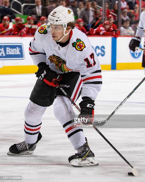Dylan Strome of the Chicago Blackhawks shoots the puck against the Detroit Red Wings during an NHL game at Little Caesars Arena on March 6, 2020 in...