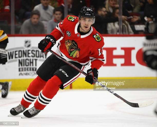 Dylan Strome of the Chicago Blackhawks skates against the Pittsburgh Penguins at the United Center on December 12 2018 in Chicago Illinois The...