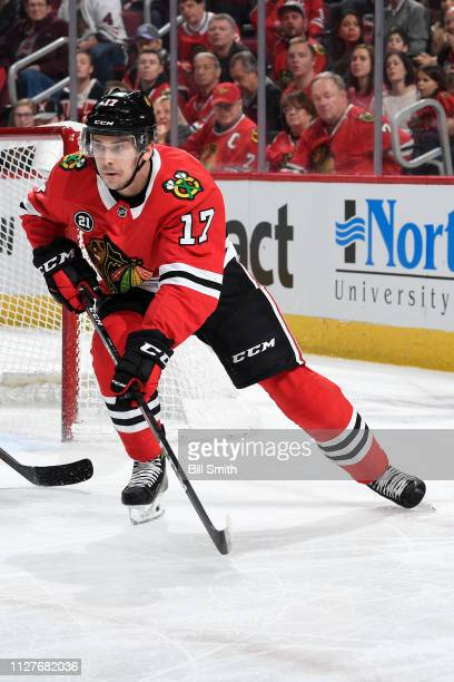 Dylan Strome of the Chicago Blackhawks skates in the first period against the Florida Panthers at the United Center on December 23 2018 in Chicago...
