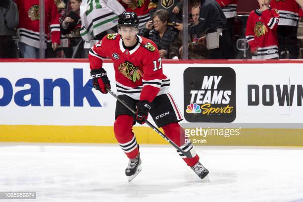 Dylan Strome of the Chicago Blackhawks warms up prior to the game against the Vegas Golden Knights at the United Center on November 27 2018 in...