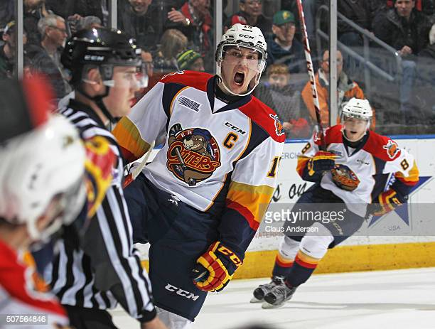 Dylan Strome of the Erie Otters celebrates a goal against the London Knights during an OHL game at Budweiser Gardens on January 29 2016 in London...