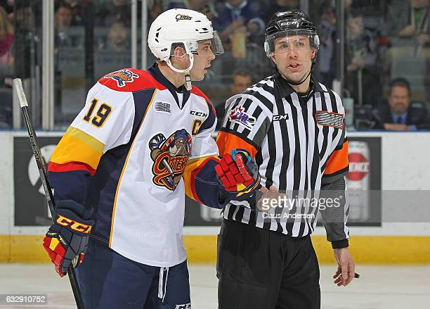 Dylan Strome of the Erie Otters quetions a call from referee Joe Monette during action against the London Knights in an OHL game at Budweiser Gardens...