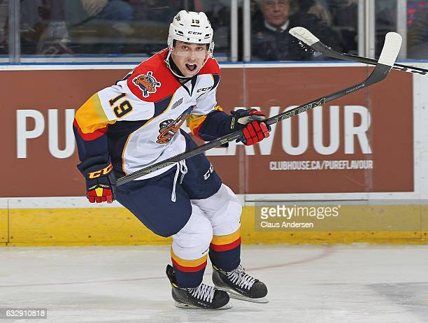 Dylan Strome of the Erie Otters skates against the London Knights during an OHL game at Budweiser Gardens on January 27 2017 in London Ontario Canada...