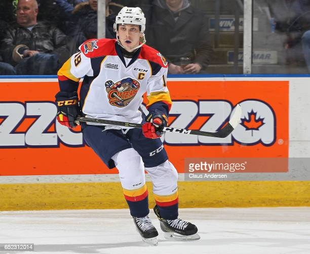 Dylan Strome of the Erie Otters skates against the London Knights during an OHL game at Budweiser Gardens on March 10 2017 in London Ontario Canada...