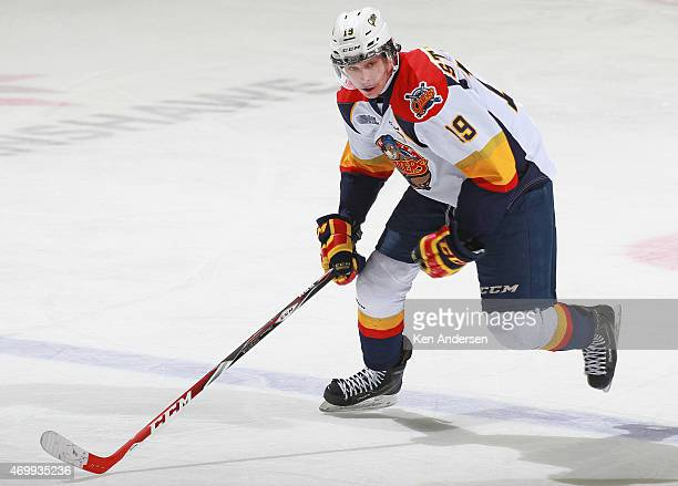Dylan Strome of the Erie Otters skates against the London Knights during Game Four of the OHL Western Conference Semifinal at Budweiser Gardens on...