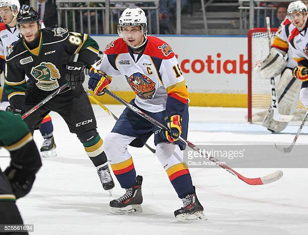 Dylan Strome of the Erie Otters skates against the London Knights during game four of the OHL Western Conference Final on April 27 2016 at Budweiser...