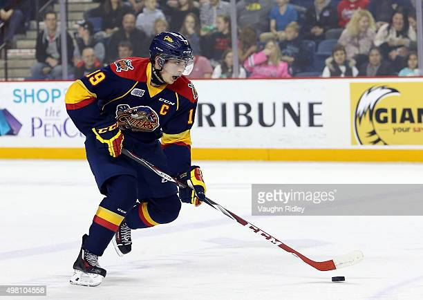 Dylan Strome of the Erie Otters skates during an OHL game against the Niagara IceDogs at the Meridian Centre on November 19 2015 in St Catharines...