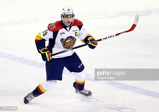Dylan Strome of the Erie Otters skates during an OHL game against the Niagara IceDogs at the Meridian Centre on February 28 2016 in St Catharines...