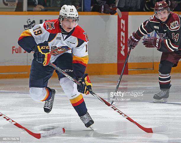 Dylan Strome of the Erie Otters skates in an OHL game against the Peterborough Petes at the Peterborough Memorial Centre on January 29 2015 in...