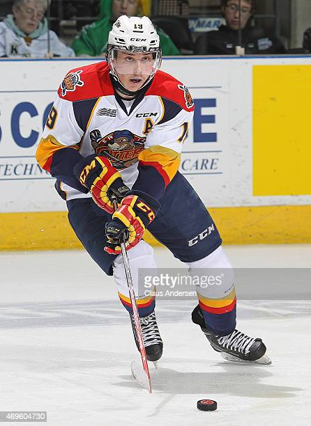 Dylan Strome of the Erie Otters skates with the puck against the London Knights during Game Three of the OHL Western Conference SemiFinal at...