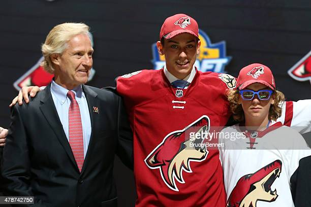 Dylan Strome poses after being selected third overall by the Arizona Coyotes in the first round of the 2015 NHL Draft at BBT Center on June 26 2015...