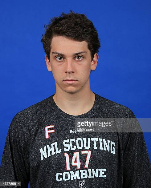 Dylan Strome poses for a headshot at the NHL Combine at HarborCenter on June 3 2015 in Buffalo New York