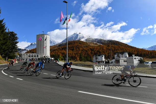 Dylan Sunderland of Australia and NTT Pro Cycling Team / Domenico Pozzovivo of Italy and NTT Pro Cycling Team / Sestriere / Landscape / Mountains /...