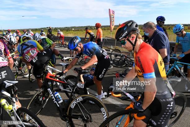 Dylan Sunderland of Australia and NTT Pro Cycling Team / Jonas Gregaard of Denmark and Astana Pro Team / Filippo Ganna of Italy and Team INEOS...