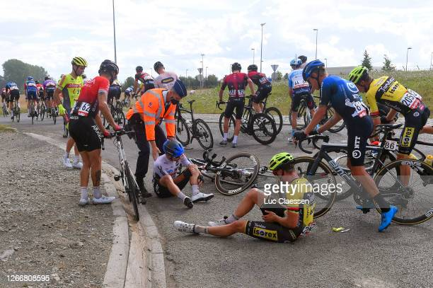Dylan Sunderland of Australia and NTT Pro Cycling Team / Ryan Gibbons of South Africa and NTT Pro Cycling Team / Enzo Wouters of Belgium and Team...