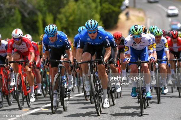 Dylan Sunderland of Australia Team NTT Pro Cycling / Rasmus Tiller of Norway Team NTT Pro Cycling / Mattia Cattaneo of Italy and Team Deceuninck -...