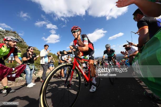 Dylan Teuns of Belgium and BMC Racing Team / Rafal Majka of Poland and Team Bora - Hansgrohe / Alto de la Camperona / Fans / Public / during the 73rd...