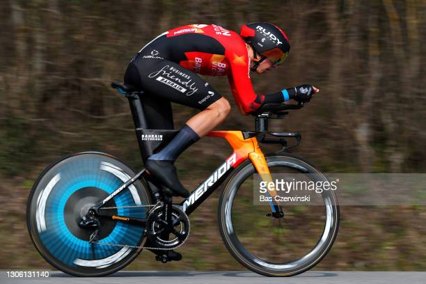 Dylan Teuns of Belgium and Team Bahrain Victorious during the 79th Paris - Nice 2021, Stage 3 a 14,4km Individual Time Trial stage from Gien to Gien...