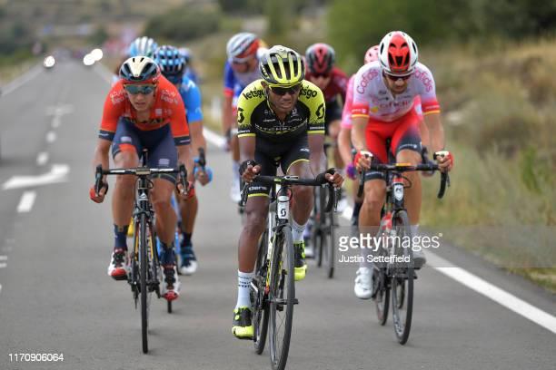 Dylan Teuns of Belgium and Team Bahrain-Merida / Tsgabu Grmay of Ethiopia and Team Mitchelton-Scott / Jesus Herrada Lopez of Spain and Team Cofidis...