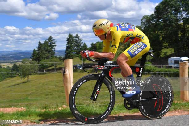 Dylan Teuns of Belgium and Team BahrainMerida Yellow Leader Jersey / during the 71st Criterium du Dauphine 2019 Stage 4 a 261km Individual Time Trial...