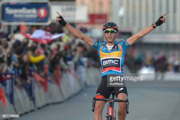 Dylan Teuns of Belgium from BMC Racing Team wins the fourth final stage and the Arctic Race of Norway 2017 On Sunday August 13 in Tromso Troms County...