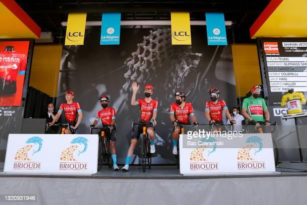 Dylan Teuns of Belgium, Santiago Buitrago Sanchez of Colombia, Eros Capecchi of Italy, Sonny Colbrelli of Italy Green sprint jersey, Jack Haig of...