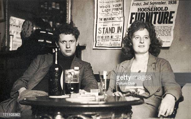 Dylan Thomas - portrait of Welsh poet with wife Caitlin Thomas. 1914-1953