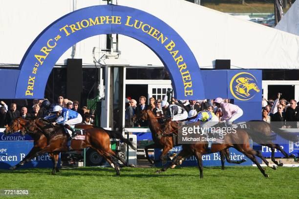 Dylan Thomas ridden by Kieron Fallon pips Youmzain ridden by Richard Hughes to win the Prix de L'Arc de Triomphe at the Hippodrome de Longchamp on...