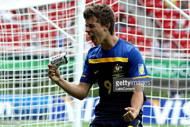 Dylan Tombides of Australia celebrates a socored goal during a match against Ivory Coast as part of the FIFA U17 World Cup Mexico 2011 at the...