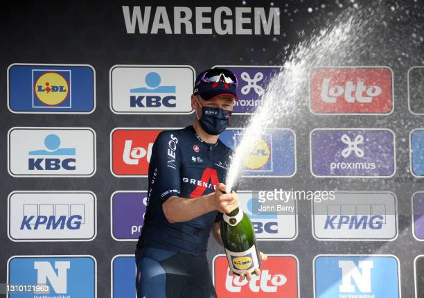 Dylan Van Baarle of Netherlands and Ineos Grenadiers celebrates on the podium winning 75th Dwars Door Vlaanderen 2021 - A travers la Flandre 2021 -...