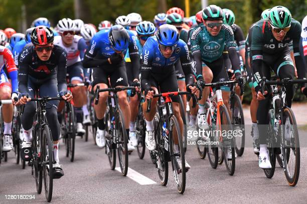 Dylan Van Baarle of Netherlands and Team INEOS Grenadiers / Samuele Battistella of Italy and NTT Pro Cycling Team / Marcus Burghardt of Germany and...