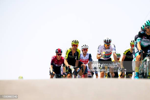 Dylan Van Baarle of Netherlands and Team INEOS / Jack Bauer of New Zealand and Team Mitchelton-SCOTT / Koen De Kort of Netherlands and Team...