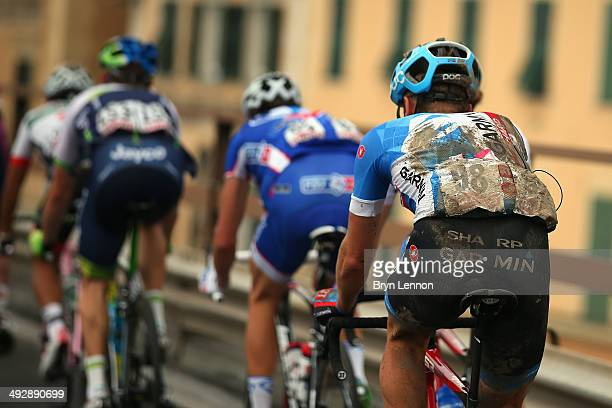 Dylan Van Baarle of the Netherlands and GarminSharp rides at the back of thwe group after his crash during the eleventh stage of the 2014 Giro...