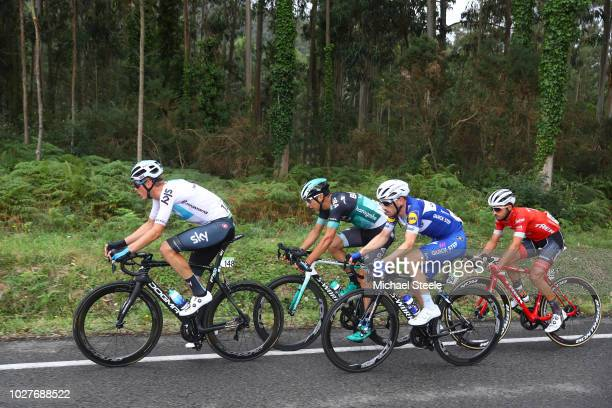 Dylan Van Baarle of The Netherlands and Team Sky / Dries Devenyns of Belgium and Team Quick-Step Floors / Davide Formolo of Italy and Team Bora -...