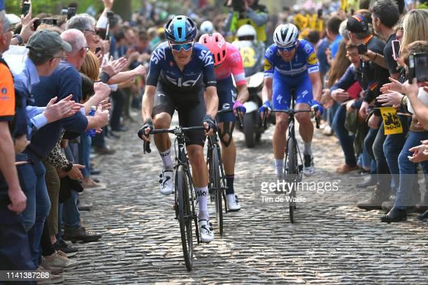 Dylan Van Baarle of The Netherlands and Team Sky / Kasper Asgreen of Denmark and Team DeceuninckQuickstep / Taaienberg / Cobblestones / Fans / Public...