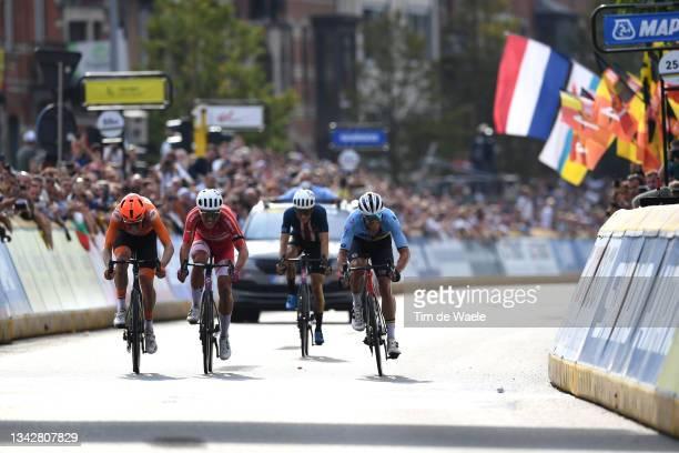 Dylan Van Baarle of The Netherlands, Michael Valgren Hundahl of Denmark, Neilson Powless of The United States and Jasper Stuyven of Belgium sprint at...